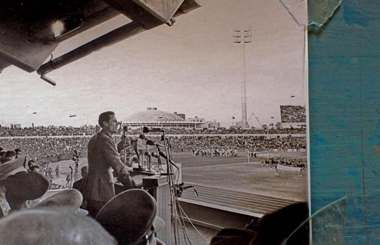 A photo of Gaddafi giving a speech in Cairo in 1970 at the Cairo International Stadium, from a photo album found in Abdullah Senussi's office in 2011.
